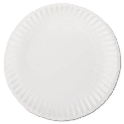 "WHITE PAPER PLATES, 9"" DIAMETER, 100/PACK, 10 PACKS/CARTON"