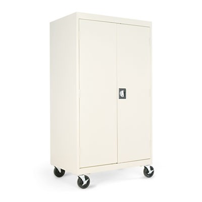 ASSEMBLED MOBILE STORAGE CABINET, W/ADJUSTABLE SHELVES 36W X 24D X 66H, PUTTY
