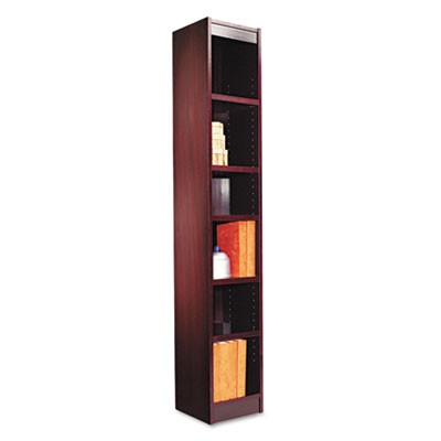 "NARROW PROFILE BOOKCASE, WOOD VENEER, SIX-SHELF, 11.81""W X 11.81""D X 71.73""H, MAHOGANY"