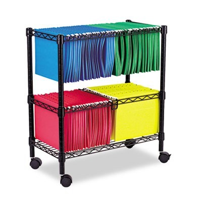 TWO-TIER ROLLING FILE CART, 26W X 14D X 29.5H, BLACK