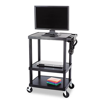 THREE-SHELF HEIGHT-ADJUSTABLE CART, 27.75W X 18.5D X 42H, BLACK