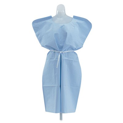 Disposable Patient Gowns, 3-Ply T/p/t, 30 In. X 42 In., Blue, 50/carton