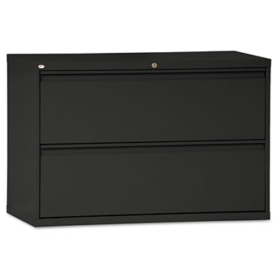 TWO-DRAWER LATERAL FILE CABINET, 42W X 18D X 28H, BLACK