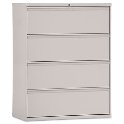 FOUR-DRAWER LATERAL FILE CABINET, 42W X 18D X 52.5H, LIGHT GRAY