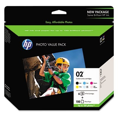 Hp 02, (q7964an) 6-Pack Assorted Original Ink W/photo Paper