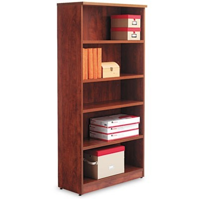 ALERA VALENCIA SERIES BOOKCASE, FIVE-SHELF, 31 3/4W X 14D X 64 3/4H, MEDIUM CHERRY