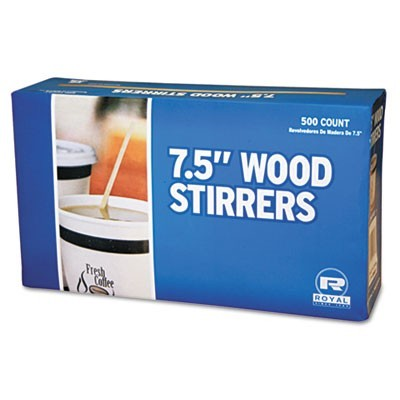 "Wood Coffee Stirrers, 7 1/2"" Long, Woodgrain, 500 Stirrers/box, 10 Boxes/carton"