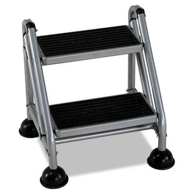 ROLLING COMMERCIAL STEP STOOL, 2-STEP, 19.7 SPREAD, PLATINUM/BLACK