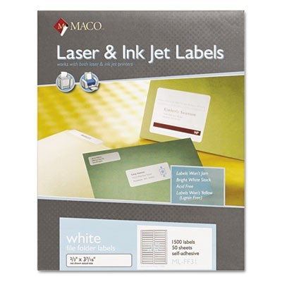 LASER/INKJET WHITE FILE FOLDER LABELS, 0.66 X 3.44, WHITE, 30/SHEET, 50 SHEETS/BOX