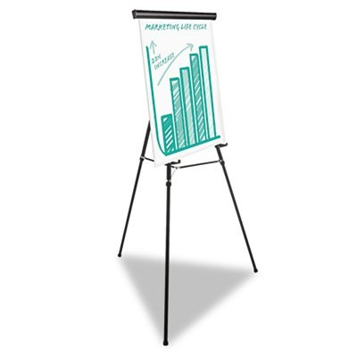 "HEAVY-DUTY ADJUSTABLE PRESENTATION EASEL, 69"" MAXIMUM HEIGHT, METAL, BLACK"
