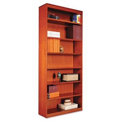"SQUARE CORNER WOOD BOOKCASE, SEVEN-SHELF, 35.63""W X 11.81""D X 83.86""H, MEDIUM CHERRY"