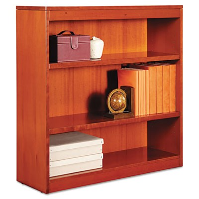 "SQUARE CORNER WOOD BOOKCASE, THREE-SHELF, 35.63""W X 11.81""D X 35.91""H, MEDIUM CHERRY"