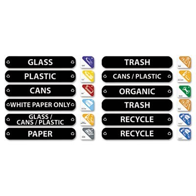 RECYCLE LABEL KIT, ASSORTED MESSAGES, 1.5 X 8, ASSORTED COLORS, KIT