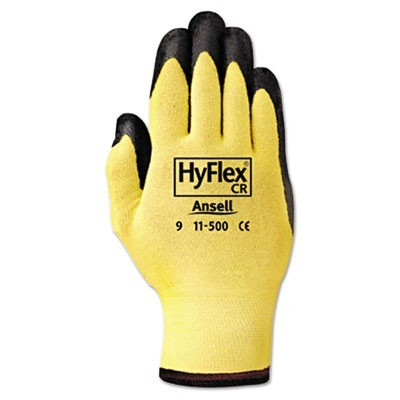 Hyflex Ultra Lightweight Assembly Gloves, Black/yellow, Size 10, 12 Pairs