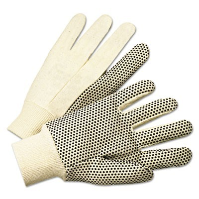 Pvc-Dotted Canvas Gloves, White, One Size Fits All, 12 Pairs