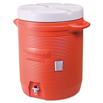 INSULATED BEVERAGE CONTAINER, 10 GAL, 16 DIA X 20.5 H, ORANGE/WHITE