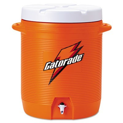 BEVERAGE COOLER WITH CUP DISPENSER, 10 GAL, ORANGE/WHITE