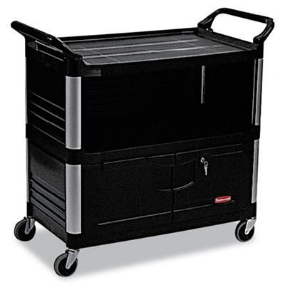 XTRA EQUIPMENT CART, 300-LB CAPACITY, THREE-SHELF, 20.75W X 40.63D X 37.8H, BLACK