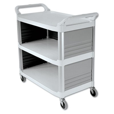 XTRA UTILITY CART, 300-LB CAPACITY, THREE-SHELF, 20W X 40.63D X 37.8H, OFF-WHITE