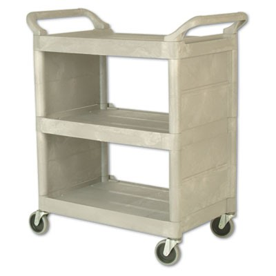 UTILITY CART, 300-LB CAPACITY, THREE-SHELF, 32W X 18D X 37.5H, PLATINUM