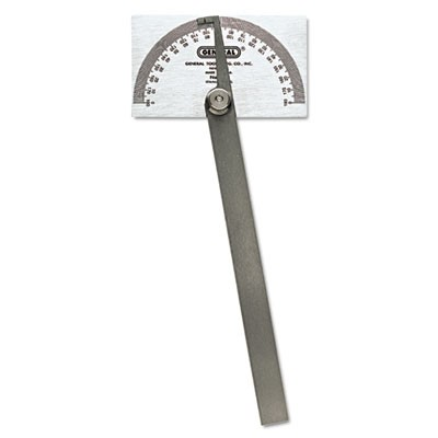 "Pivot-Arm Square-Head Steel Protractor, 3 3/8"" X 2"" Head, 6"" Arm"
