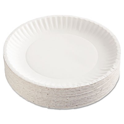 "Paper Plates, 9"" Diameter, White, 100/pack, 12 Packs/carton"