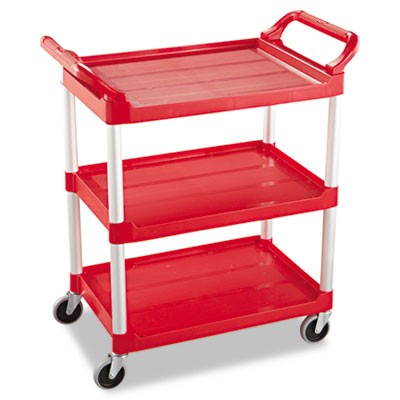 SERVICE CART, 200-LB CAPACITY, THREE-SHELF, 18.63W X 33.63D X 37.75H, RED