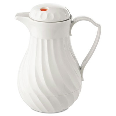 Poly Lined Carafe, Swirl Design, 40oz Capacity, White