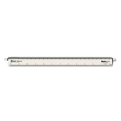 "Adjustable Triangular Scale Aluminum Architects Ruler, 12"", Silver"