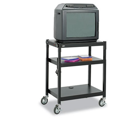 ADJUSTABLE-HEIGHT STEEL AV CART, 27.25W X 18.25D X 28.5 TO 36.5H, BLACK
