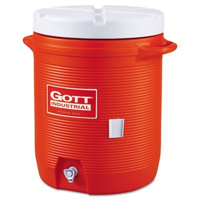 INSULATED BEVERAGE CONTAINER, 10 GAL, 15.85 DIA. X 20.5 H, ORANGE/WHITE