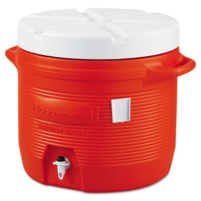 PLASTIC WATER COOLER, 7 GAL, ORANGE
