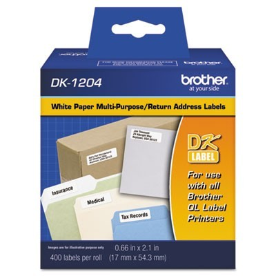 "DIE-CUT MULTIPURPOSE LABELS, 0.66"" X 2.1"", WHITE, 400/ROLL"