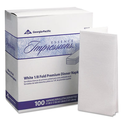 Essence Impressions 1/8-Fold Dinner Napkins, Two-Ply, 17 X 17, White