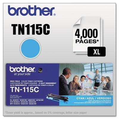 TN115C HIGH-YIELD TONER, 4000 PAGE-YIELD, CYAN