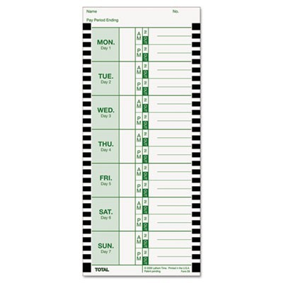 Time Card For Lathem Model 800p, 4 X 9, Weekly, 1-Sided, 100/pack
