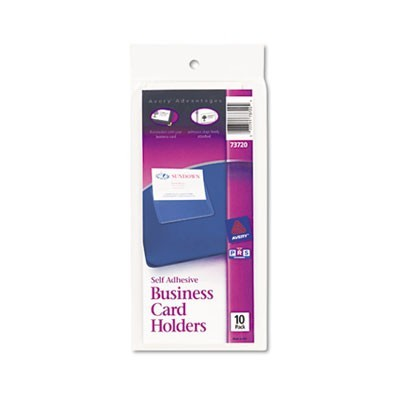 Self-Adhesive Business Card Holders, Top Load, 3-1/2 X 2, Clear, 10/pack