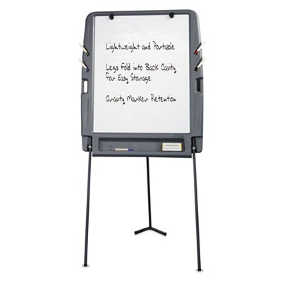 Portable Flipchart Easel With Dry Erase Surface, Resin, 35 X 30 X 73, Charcoal