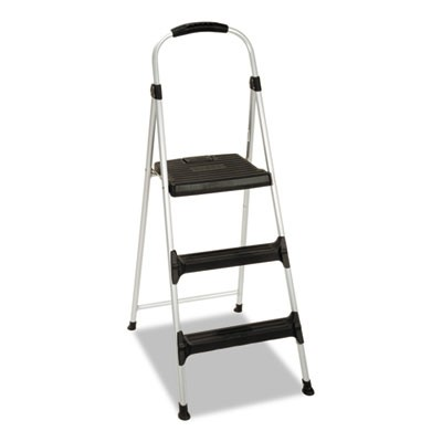 "ALUMINUM STEP STOOL, 3-STEP, 225 LB CAPACITY, 28.45"" WORKING HEIGHT, PLATINUM/BLACK"