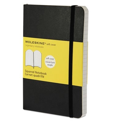 CLASSIC SOFTCOVER NOTEBOOK, 4 SQ/IN QUADRILLE RULE, BLACK COVER, 5.5 X 3.5, 192 SHEETS