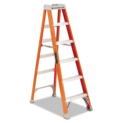 "Fiberglass Heavy Duty Step Ladder, 73 3/5"", 5-Step, Orange"