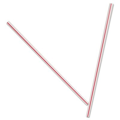 "Unwrapped Hollow Stir-Straws, 5"", Plastic, White/red, 1000/box, 10 Boxes/carton"