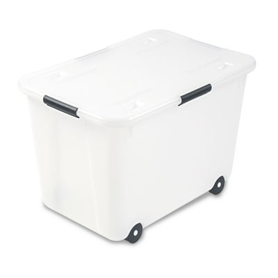 "ROLLING 15-GAL. STORAGE BOX, LETTER/LEGAL FILES, 23.75"" X 15.75"" X 15.75"", CLEAR"