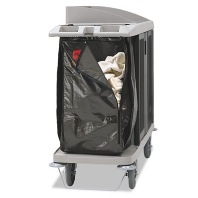 "ZIPPERED VINYL CLEANING CART BAG, 25 GAL, 17"" X 33"", BROWN"