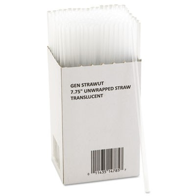 "Unwrapped Jumbo Straws, 7 3/4"", Translucent, 225/pack, 50 Packs/carton"