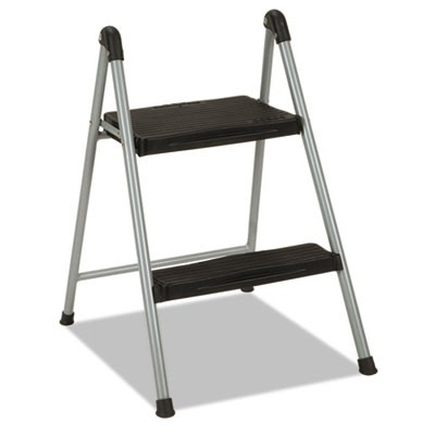 "FOLDING STEP STOOL, 2-STEP, 200 LB CAPACITY, 16.9"" WORKING HEIGHT, PLATINUM/BLACK"