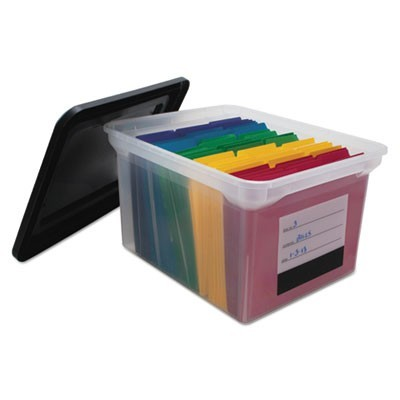 "FILE TOTE WITH CONTENTS LABEL, LETTER/LEGAL FILES, 17.75"" X 14"" X 10.25"", CLEAR/BLACK"