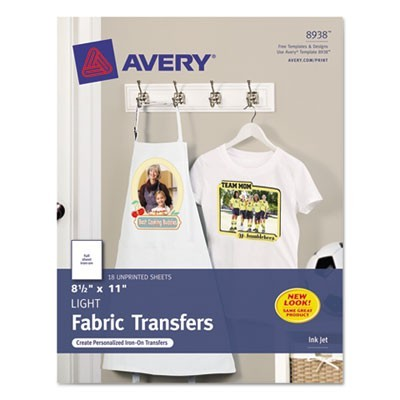 FABRIC TRANSFERS, 8.5 X 11, WHITE, 18/PACK
