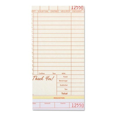 Guest Check Book, Carbonless Triplicate, 4 1/5 X 8 1/2, 200/pack, 10 Packs/ctn