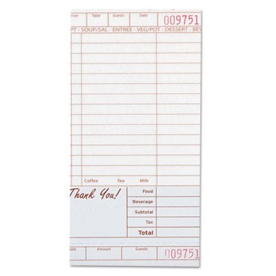 Guest Check Book, Carbonless Duplicate, 4 1/5 X 8 1/2, 200/pack, 10 Packs/carton